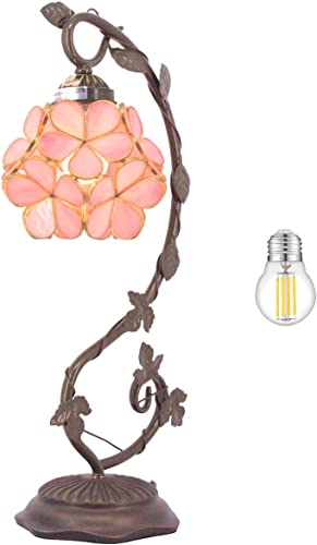 Tiffany Desk Lamp LED Bulb Included Stained Glass Table Reading Light Pink Lover Flower Petals Copper Style Shade W6H21Inch S700 WERFACTORY LAMPS Living Room Bedroom Dresser Bedside Antique Craft Gift