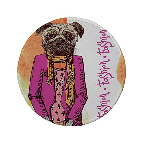 Non-Slip Rubber Round Mouse Pad,Pug,Fashion Icon Dog with Cool Clothes Scarf Necklace Jacket Handbag Tainted Background,Hot Pink Amber,7.87