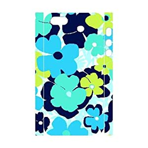 Blue Flowers Custom 3D Cover Case for Iphone 5,5S,diy phone case ygtg613177