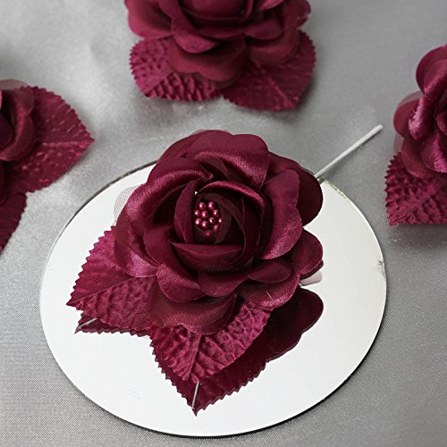 BalsaCircle 12 Burgundy Open Roses Craft Flowers - Mini Flowers for DIY Wedding Birthday Party Favors Decorations Supplies Bulk