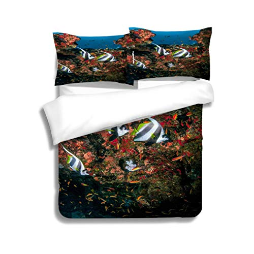 MTSJTliangwan Family Bed Long Fin Bannerfish 3 Piece Bedding Set with Pillow Shams, Queen/Full, Dark Orange White Teal Coral