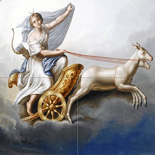 Diana in HER Chariot by Italian School 19th Century Goddess Animal Sky Tile Mural Kitchen Bathroom Wall Backsplash Behind Stove Range Sink Splashback 2x2 4