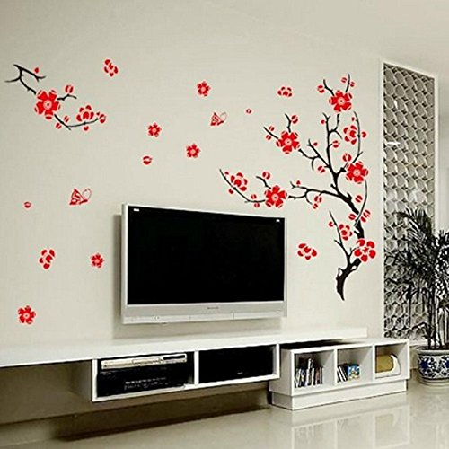 Wall Art - Red Blossom Flowers Tree Removable Wall Stickers - Cherry Blossom Flowers Artificial Fake Plum Patch Wall Stickers Decal Girls Bedroom Tree Sticker Flower Decals Room - For - (Blossom Display Clock)