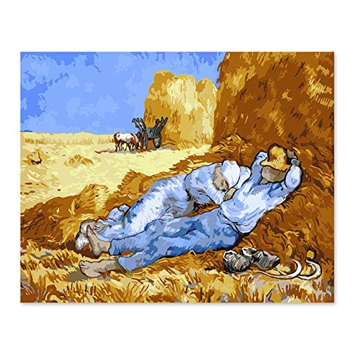 Painting by Numbers Digital Oil Painting DIY Decoration Living Room Bedroom Sofa Background Van Gogh Wheat Field Lunch Break DIY Canvas Wall Art 12X16in