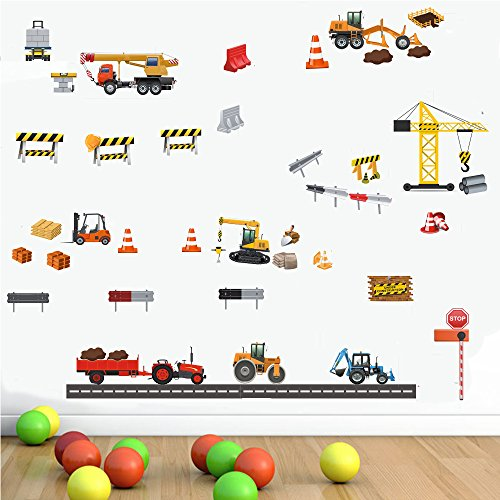 DCTOP Construction Vehicle Wall Decal Transports DIY Toy Car Wall Sticker Cranes, Excavators, Bulldozers Engineering Materials Decorative Kids Boys Bedroom Living room Wall Art Home Decoration