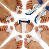 Bunion Corrector & Bunion Relief Protector Sleeves Kit, Treat Pain in Hallux Valgus - Tailors Bunion - Big Toe Joint - Hammer Toe - Toe Separators Spacers Straighteners