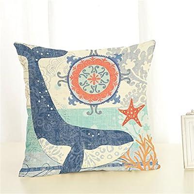 Ocean Theme Printing Cushion Cover Home Decoration Throw Pillowcase Cotton Linen Square Pillow Cover