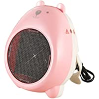 pinnacleT1 Mini Electric Fan Heater Cartoon Portable Space Heater Personal Heater Fan for Home and Office Indoor Use (Pink-white)