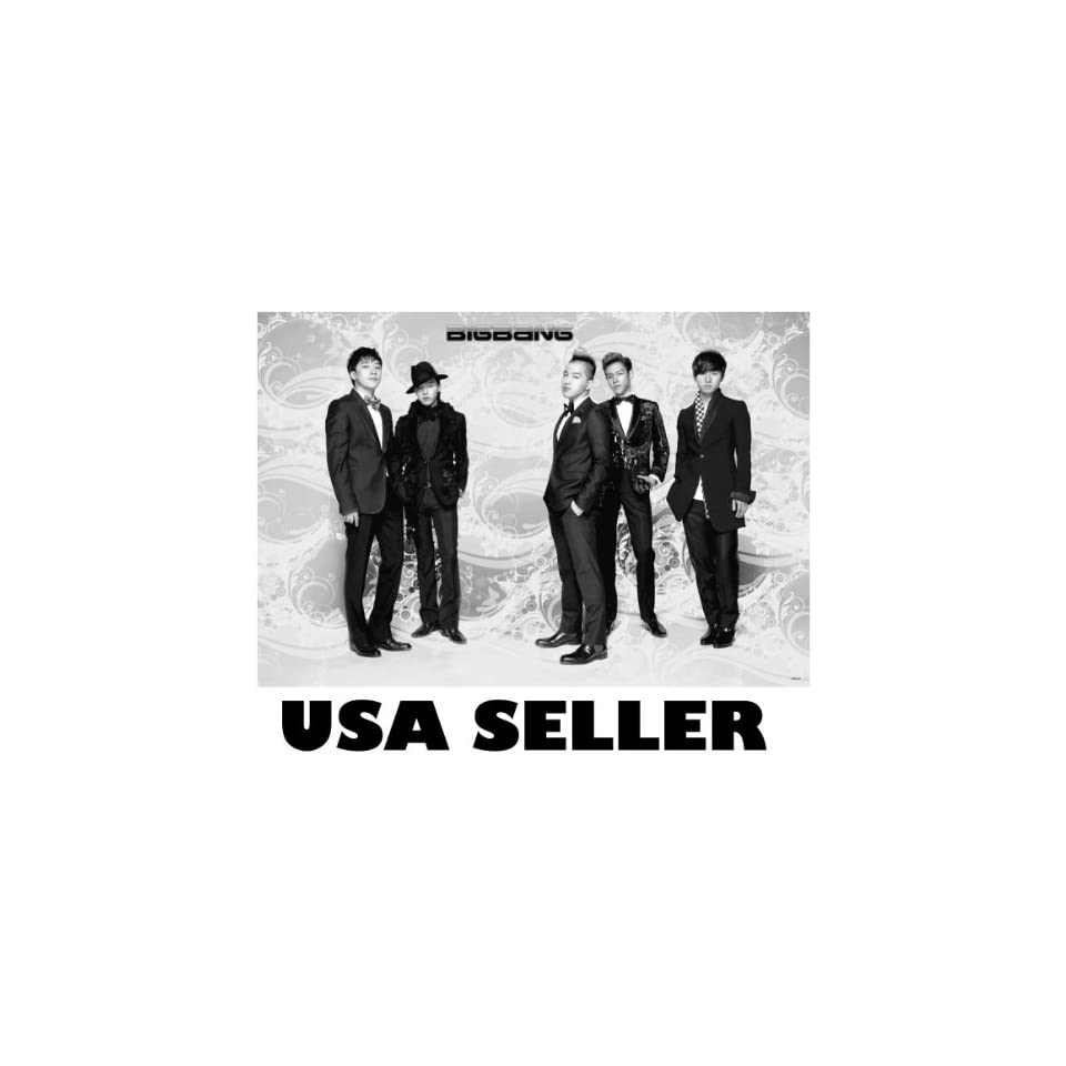 Big Bang standing horiz b&w POSTER 34 x 23.5 Bigbang Top T.O.P. G Dragon Tae Yang Korean K pop boy band (poster sent from USA in PVC pipe)