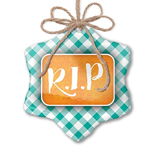 NEONBLOND Christmas Ornament RIP Halloween Orange Wallpaper Pastel Mint Green Plaid