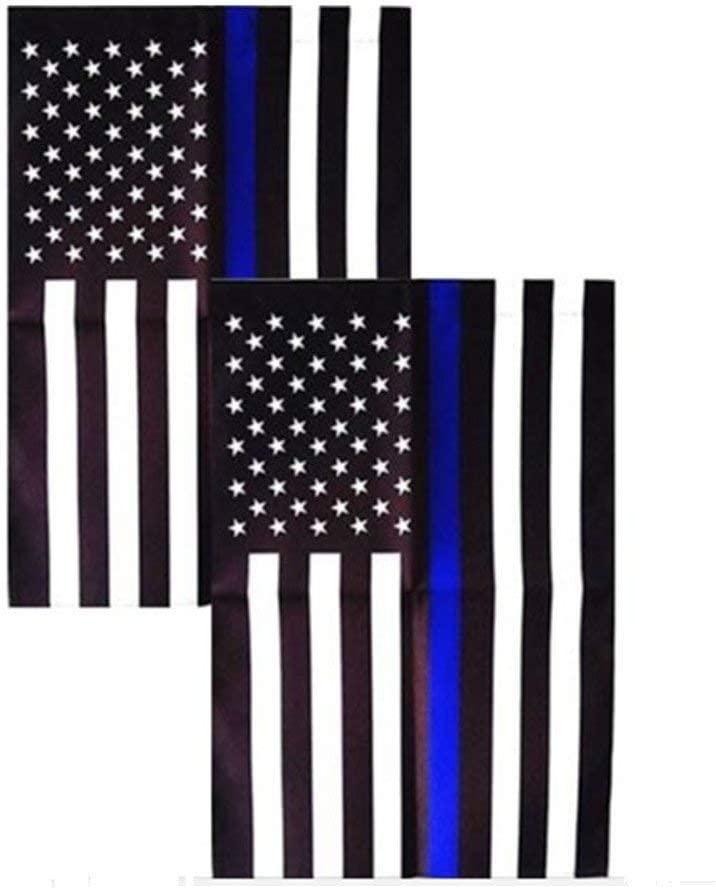Consio 2 Pack - Thin Blue Line American 12 x 18 Inch Garden Flag…