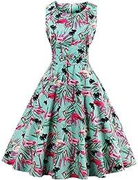 Women's Tropical Leaf Flamingo Hepburn 1950s Vintage Swing Dress