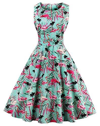 Wellwits Women's Tropical Leaf Flamingo Hepburn 1950s Vintage Swing Dress L (A-line Vintage 1960s Dress)