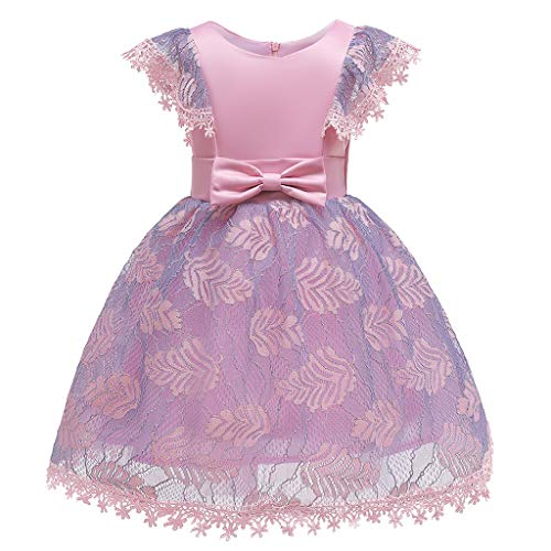 Lovygaga Kids Baby Girls Sweet Floral Lace Tutu Gown Ball Princess Dress Cute Bowknot Sleeveless Birthday Party Dress Pink ()