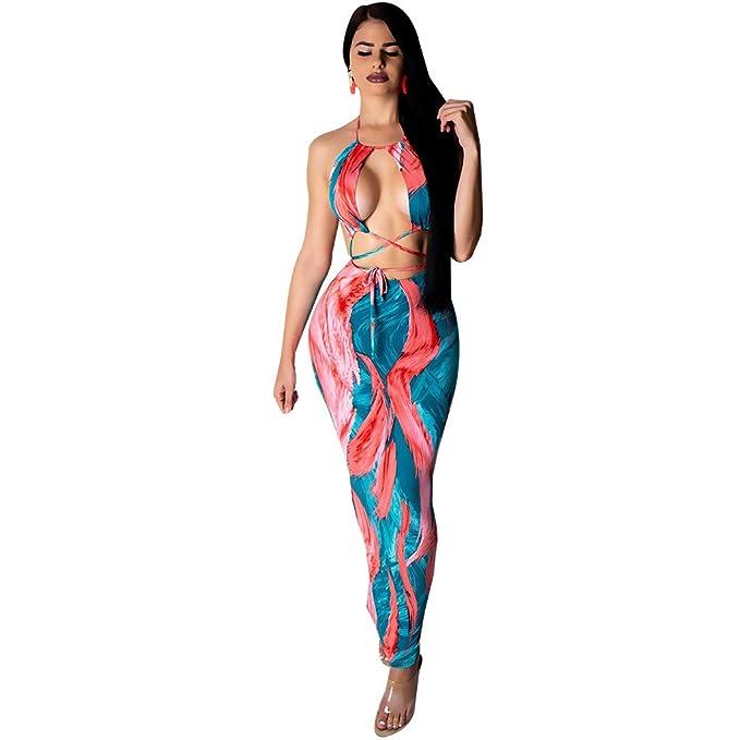 Amazon.com: Vestido de fiesta sexy con cuello en V profundo ...