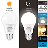 Dusk to Dawn A19 LED Light Bulb, Built in Light Sensor, 6000K Cool White, E26, AC120V,Automatic On/Off Indoor/Outdoor Yard Porch Patio Garden (2 Pack) by Wixann