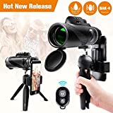 Monocular Telescope 12x50 High Power Waterproof Monocular Scope Phone Mount & Tripod Monocular Compact Fogproof Shockproof Scope BAK4 Prism FMC Monoculars Adults Hunting Camping Travelling