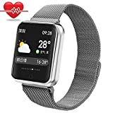 Smart Watch for Samsung,Miya Waterproof Fitness Tracker with Heart Rate Monitor Blood Pressure Fitness Sleep Monitoring Step Counter Auto Wake Screen Aluminum Band for Kids,Women,Men - Silver