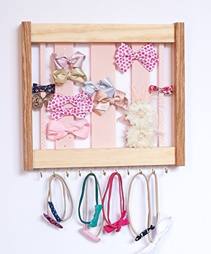 Med Oak Frame - Oak & Pine Hair clip Bow Organizer & Headband Holder/Wood Ribbons Hooks/Large Organizer Handmade/High Quality/Nursery Girls Room Decor/(pink polka dot gold Med)