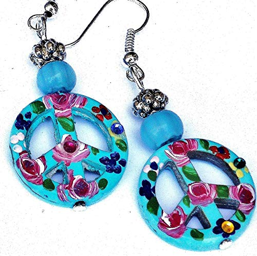 Turquoise Blue Hippie Peace Sign Earrings with Painted Flowers and Swarovksi Crystal Rhinestones