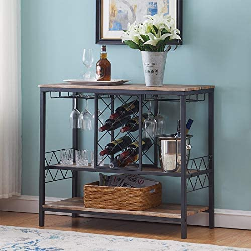 O K Furniture Industrial Wine Rack Table