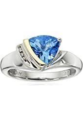 Sterling Silver, 14k Yellow Gold, Diamond, and Swiss Blue Topaz Ring (1/10 cttw, I-J Color, I3 Clarity)