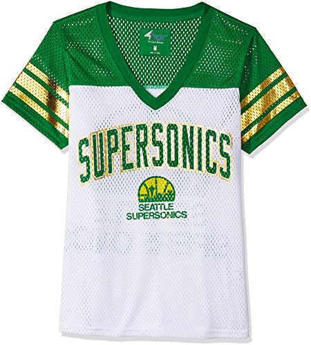 GIII For Her NBA Seattle Supersonics Women's All American Mesh Tee, Large, White