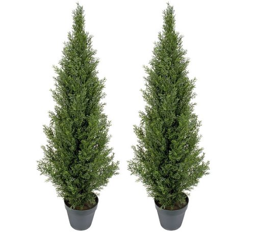 (TWO Pre-potted 4' Artificial Cedar Topiary Outdoor Indoor Tree)
