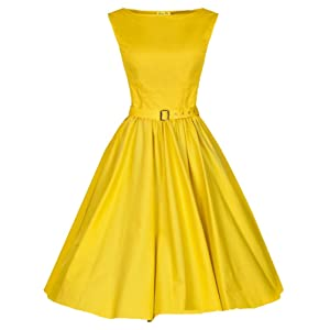 Wenseny Women Dresses Vintage Boat Neckline Party Cocktail Swing Dresses with Belt Yellow XX-Large