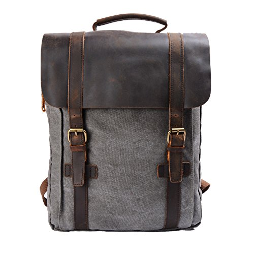 S-ZONE Retro Canvas Leather School Travel Backpack Rucksack 15.6-inch Laptop Bag