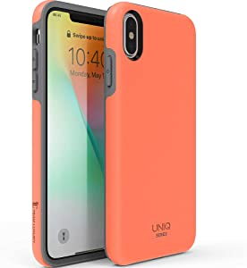 """TEAM LUXURY iPhone Xs Max Case, [UNIQ Series] Ultra Defender Shockproof Hybrid Slim Protective Cover Phone Case for Apple iPhone Xs MAX 6.5"""" - Living Coral/Gray"""