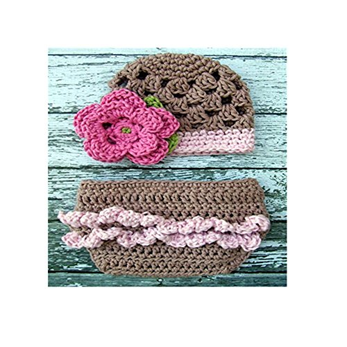Sofia Flapper Beanie and Ruffle Buttom Diaper Cover in Taupe and Pink (Infant Pink Flapper Costume)