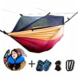 Single & Double Camping Hammock With Mosquito/Bug Net Hammock Tree Straps & Carabiners Easy Assembly Portable Parachute Nylon Hammock For Camping, Backpacking, Survival, Travel & More with Space-Savin