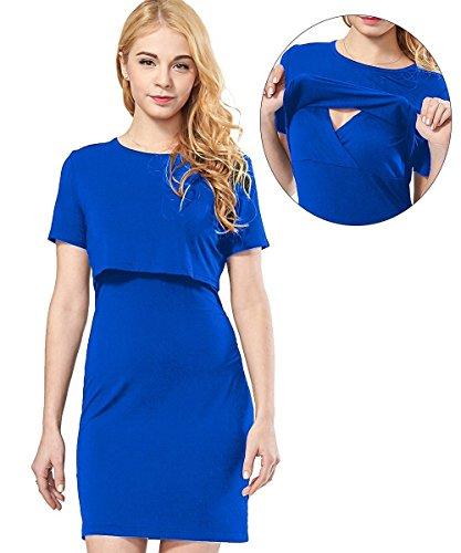 4ec32fe043f Womens Maternity Nursing Dress Short Sleeve Breastfeeding Clothes ...