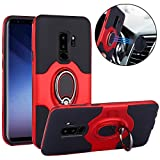 Galaxy S9 Plus Case, Slim Drop Protection Cover, IMPROVED Ring Grip Holder Stand, Back Magnetic Circle With Air Vent Magnetic Car Vent Mount For Samsung Galaxy S9 Plus - Red