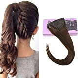 VeSunny 14inch Hair Ponytail Extension Straight Remy Human Hair Color #4 Dark Brown