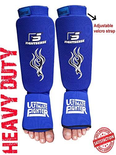 FIGHTSENSE X Serial Shin Instep Kick Boxing Training Pads Karate Pads Shin Guards Shin Protection Crossfit Muay Thai shin Guards Boxing shin Guards (Blue, Large)