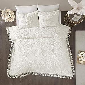 Madison Park Laetitia Coverlet Reversible 100% Cotton Chenille Floral Medallion Tufted Fringe Tassel Soft Hypoallergenic…
