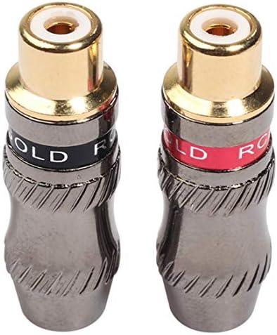 オーディオケーブル DIYオーディオケーブル&ビデオケーブル用TR026-1 2 PCS RCAメスプラグオーディオジャックゴールドメッキアダプター.