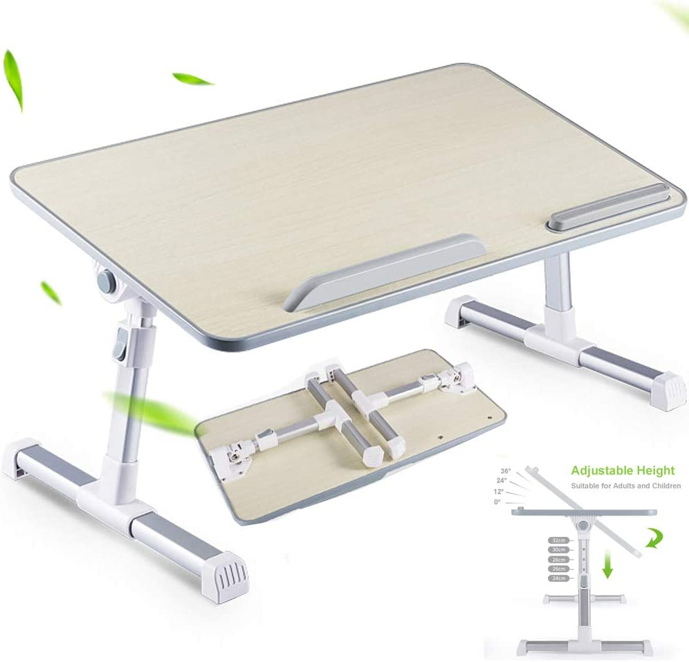 Adjustable Lap Desk Bed Desk for Adults and Children, Laptop Stand for Desk, Bed, Working, Writing, Gaming and Drawing, Foldable Grey Laptop Bed Tray Table, Right-Handed, 23.6