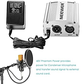 Neewer Phantom Power Kit Includes:1-channel 48v Phantom Power Supply With Adapter & Xlr Audio Cable For Any Condenser Microphone Music Recording Equipment (Silver) 9