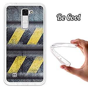 BeCool® - Funda Gel Flexible LG K7 Metal Rayas Advertencia Carcasa Case Silicona TPU Suave