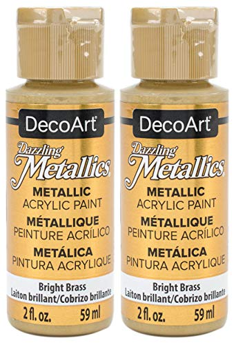 2-Pack - DecoArt Dazzling Metallics Acrylic Colors - Bright Brass 2-Ounces Each