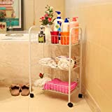 GX Three-layer Band Wheel Floor-standing metal Bathroom Shelf, Storage Shelf And Removable Storage Layer Rack Home Decoration
