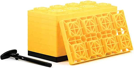 Camco Yellow Fasten 4x2 Leveling Block for Single Tires-Interlocking Design Allows Stacking to Desired Height-Includes Secure T-Handle Carrying System-Yellow-10 Pack (21023)