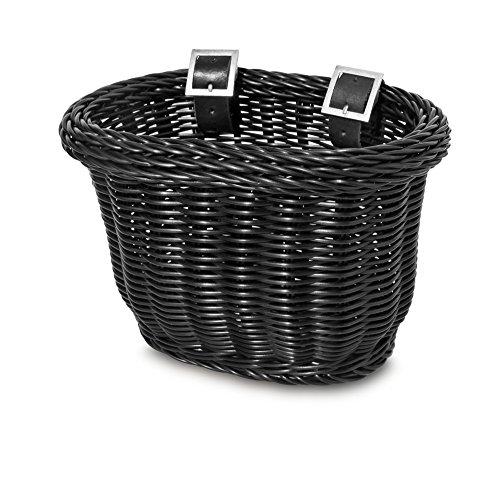 Colorbasket 01624 Front Handle Bar Kids Bike Basket, Water Resistant, Leather Straps, Black