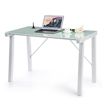 ikayaa modern computer desk pc laptop table home office furniture tempered galss top amazon home office furniture