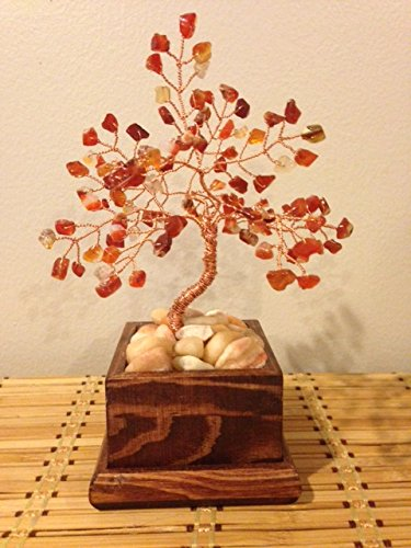 Carnelian Wire Gemstone Bonsai Tree of Life in Wood Flower Pot, Handmade Healing Carnelian Gemstone Tree,Wire Tree Sculpture ()