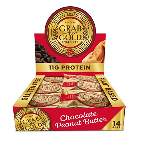 Snack Bars by Grab The Gold - Organic, Gluten Free, Vegan, Kosher, & Dairy Free - 11g of Protein - Chocolate Peanut Butter (14 - Gluten Vegan Free Butter
