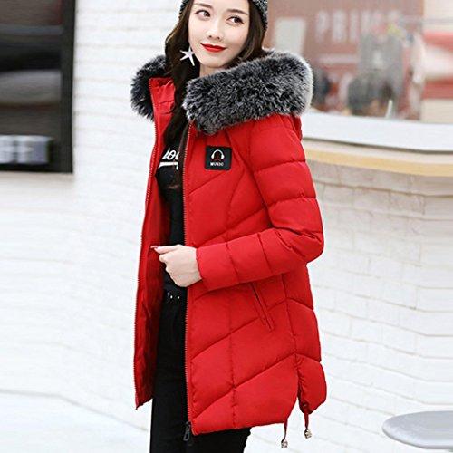 Para abrigo de Chaqueta Abrigo rojo KaloryWee Parka Plumas Mujer de cálido delgado A2 invierno mujer de wt7qFx5T